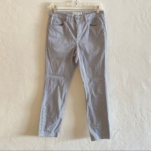 H&M Blue & White Striped Ankle Length Jeans 10